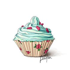 1st blogiversary, drawn cupcake, tirquoise - happy birthday to my blog