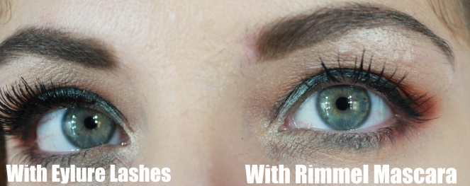 3cc96f0c811 I then stuck the Eylure lashes on the other eye and used the Rimmel Volume  Shake Mascara to set my lashes together with my real lashes on the right  eye – as ...